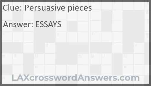 Persuasive pieces Answer