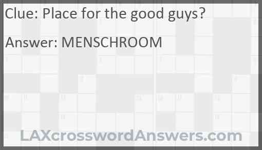 Place for the good guys? Answer
