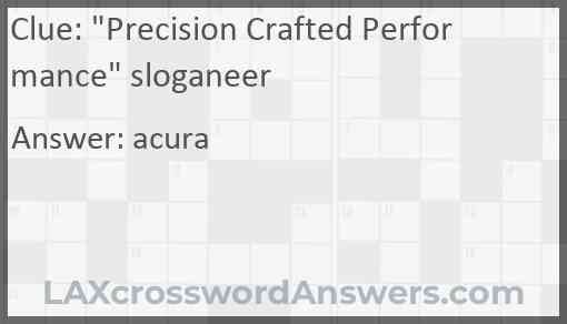 """""""Precision Crafted Performance"""" sloganeer Answer"""