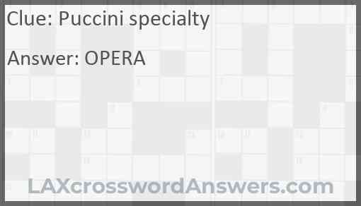 Puccini specialty Answer