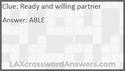 Ready and willing partner Answer