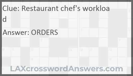 Restaurant chef's workload Answer