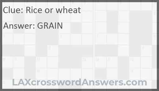 Rice or wheat Answer