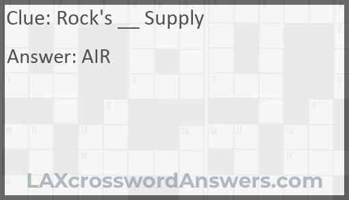 Rock's __ Supply Answer