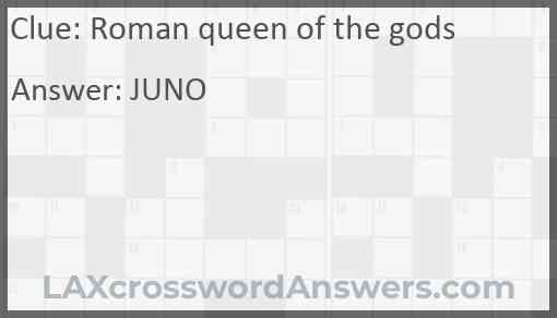 Roman queen of the gods Answer