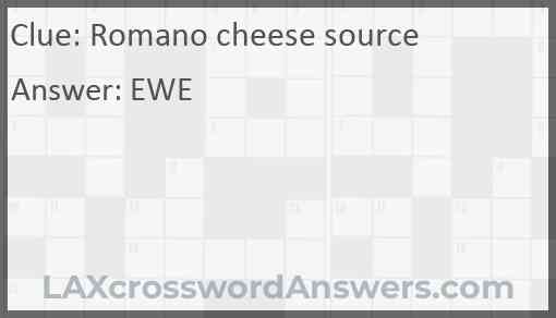 Romano cheese source Answer