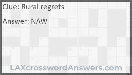 Rural regrets Answer