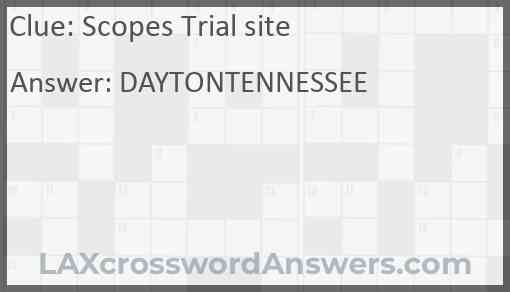 Scopes Trial site Answer