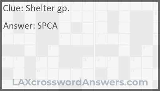 Shelter gp. Answer