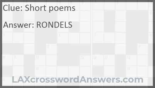 Short poems Answer