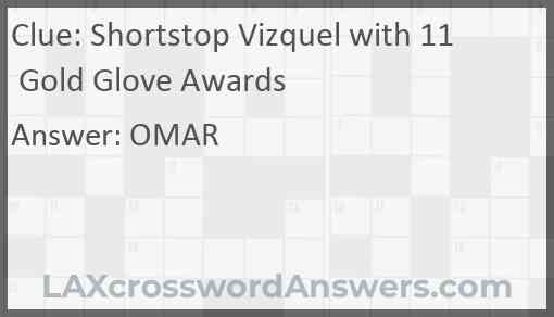 Shortstop Vizquel with 11 Gold Glove Awards Answer