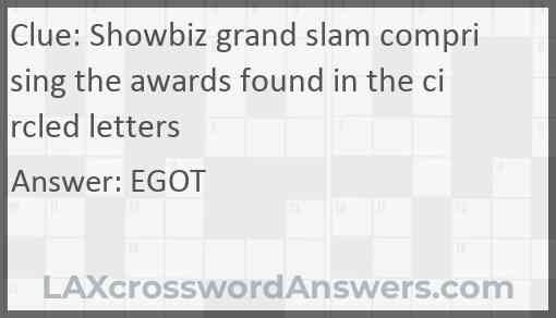 Showbiz grand slam comprising the awards found in the circled letters Answer