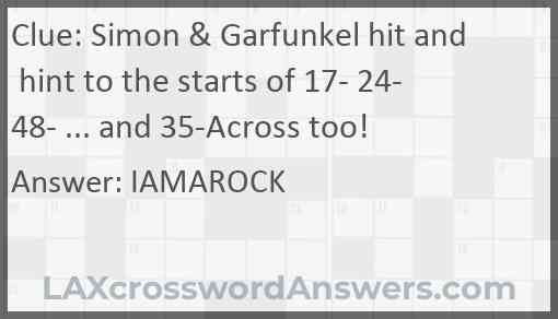 Simon & Garfunkel hit and hint to the starts of 17- 24- 48- ... and 35-Across too! Answer