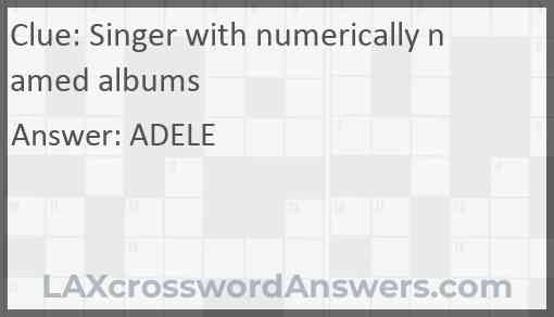 Singer with numerically named albums Answer