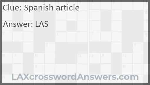 Spanish article Answer