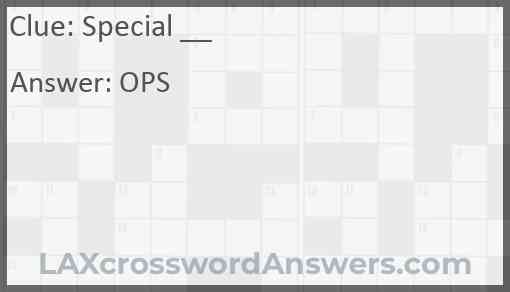 Special ___ Answer