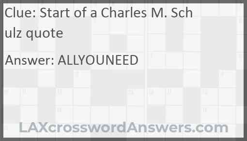 Start of a Charles M. Schulz quote Answer