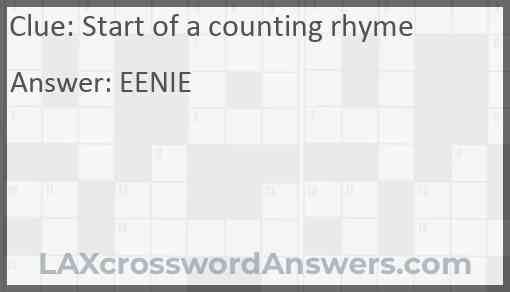 Start of a counting rhyme Answer