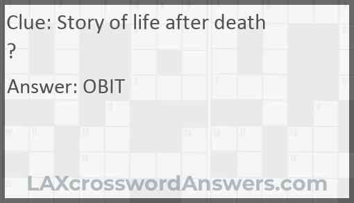 Story of life after death? Answer