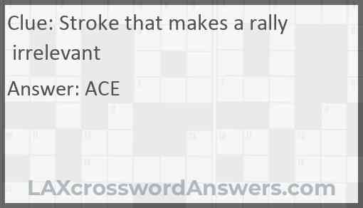 Stroke that makes a rally irrelevant Answer