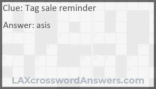 Tag sale reminder Answer