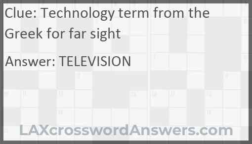 Technology term from the Greek for far sight Answer