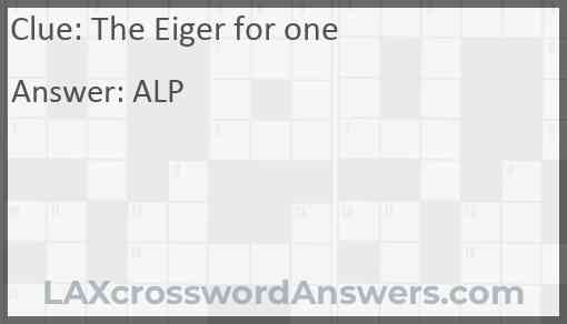 The Eiger for one Answer