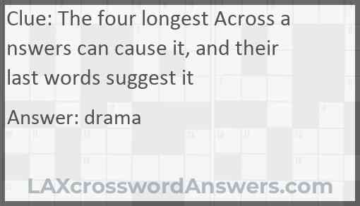 The four longest Across answers can cause it, and their last words suggest it Answer