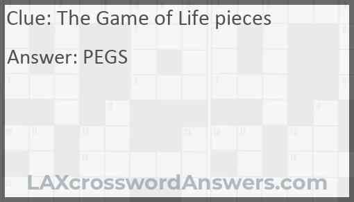 The Game of Life pieces Answer