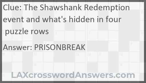 The Shawshank Redemption event and what's hidden in four puzzle rows Answer