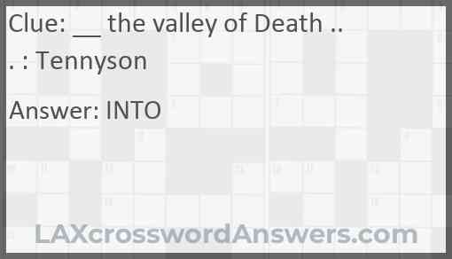 __ the valley of Death ... : Tennyson Answer