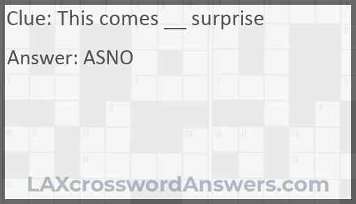 This comes __ surprise Answer
