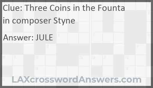 Three Coins in the Fountain composer Styne Answer