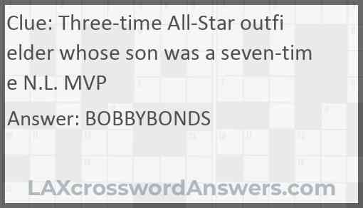 Three-time All-Star outfielder whose son was a seven-time N.L. MVP Answer