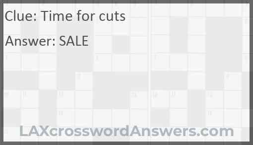 Time for cuts Answer