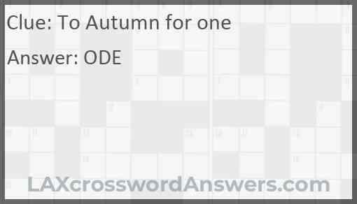 To Autumn for one Answer