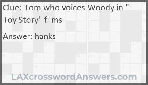 """Tom who voices Woody in """"Toy Story"""" films Answer"""