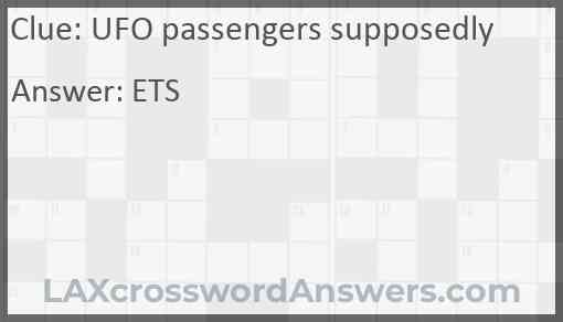 UFO passengers supposedly Answer