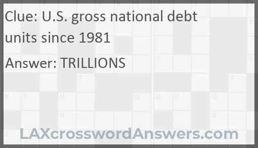U.S. gross national debt units since 1981 Answer