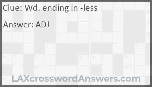 Wd. ending in -less Answer
