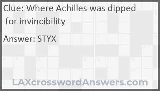 Where Achilles was dipped for invincibility Answer