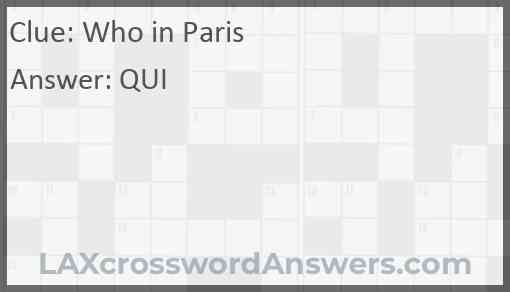 Who in Paris Answer