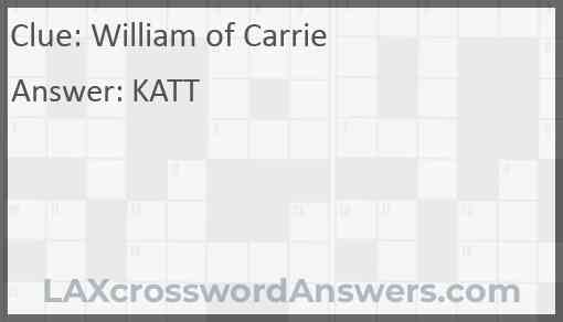 William of Carrie Answer