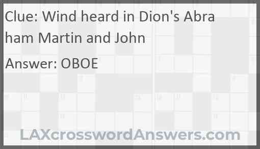 Wind heard in Dion's Abraham Martin and John Answer
