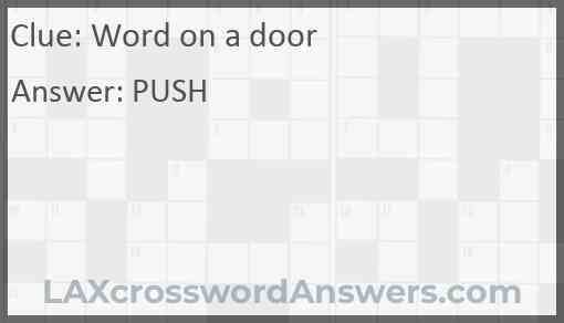 Word on a door Answer