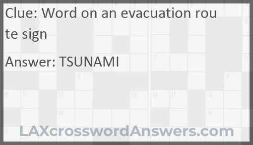 Word on an evacuation route sign Answer