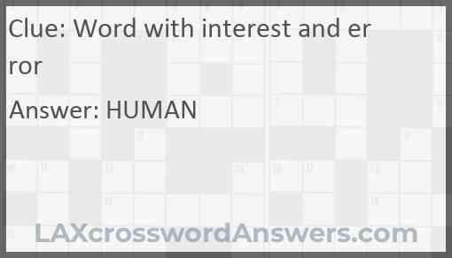 Word with interest and error Answer