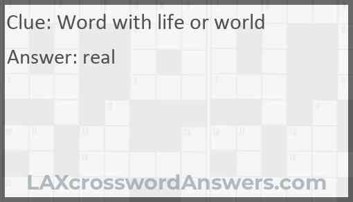 Word with life or world Answer