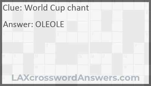 World Cup chant Answer