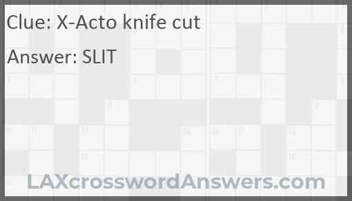 X-Acto knife cut Answer